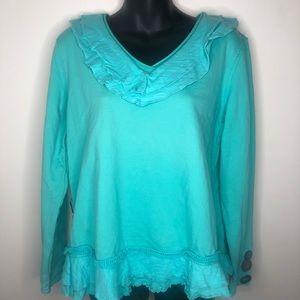Neon Buddha turqouise ruffle sweater wood button